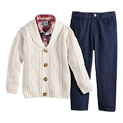 Toddler Boy Little Lad Cardigan, Plaid Shirt & Denim Pants Set