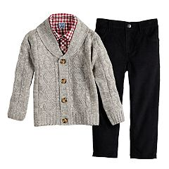 Toddler Boy Little Lad Cardigan, Plaid Shirt & Pants Set