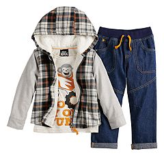 Toddler Boy Little Lad Plaid Zip Hoodie, Truck Tee & Jeans Set