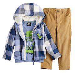 Toddler Boy Little Lad Plaid Zip Hoodie, Dinosaur Tee & Pants Set