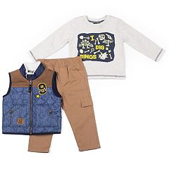 Toddler Boy Little Lad 3 pc Vest, Tee & Cargo Pants Set