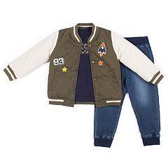 Toddler Boy Little Lad 3 pc Jacket, '#Awesome' Tee & Jogger Denim Pants Set