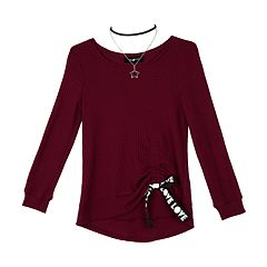 Girls 7-16 IZ Amy Byer Long Sleeve Banded Bottom Top with Necklace
