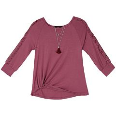 Girls 7-16 & PLus Size IZ Amy Byer Front Twist Raglan Lattice Sleeve Top with Necklace