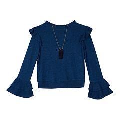Girls 7-16 IZ Amy Byer Ruffled Shoulder Top with Necklace