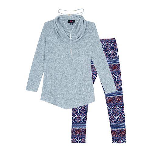 763cec4bfbd7e Girls 7-16   Plus Size IZ Amy Byer Long Sleeve Tunic   Leggings Set with  Necklace
