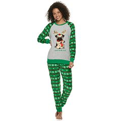 Juniors' Peace, Love & Fashion Holiday Top & Joggers Pajama Set
