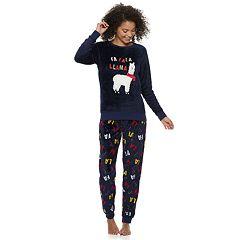 Juniors' Peace, Love & Fashion Holiday Top & Joggers Pajama Set