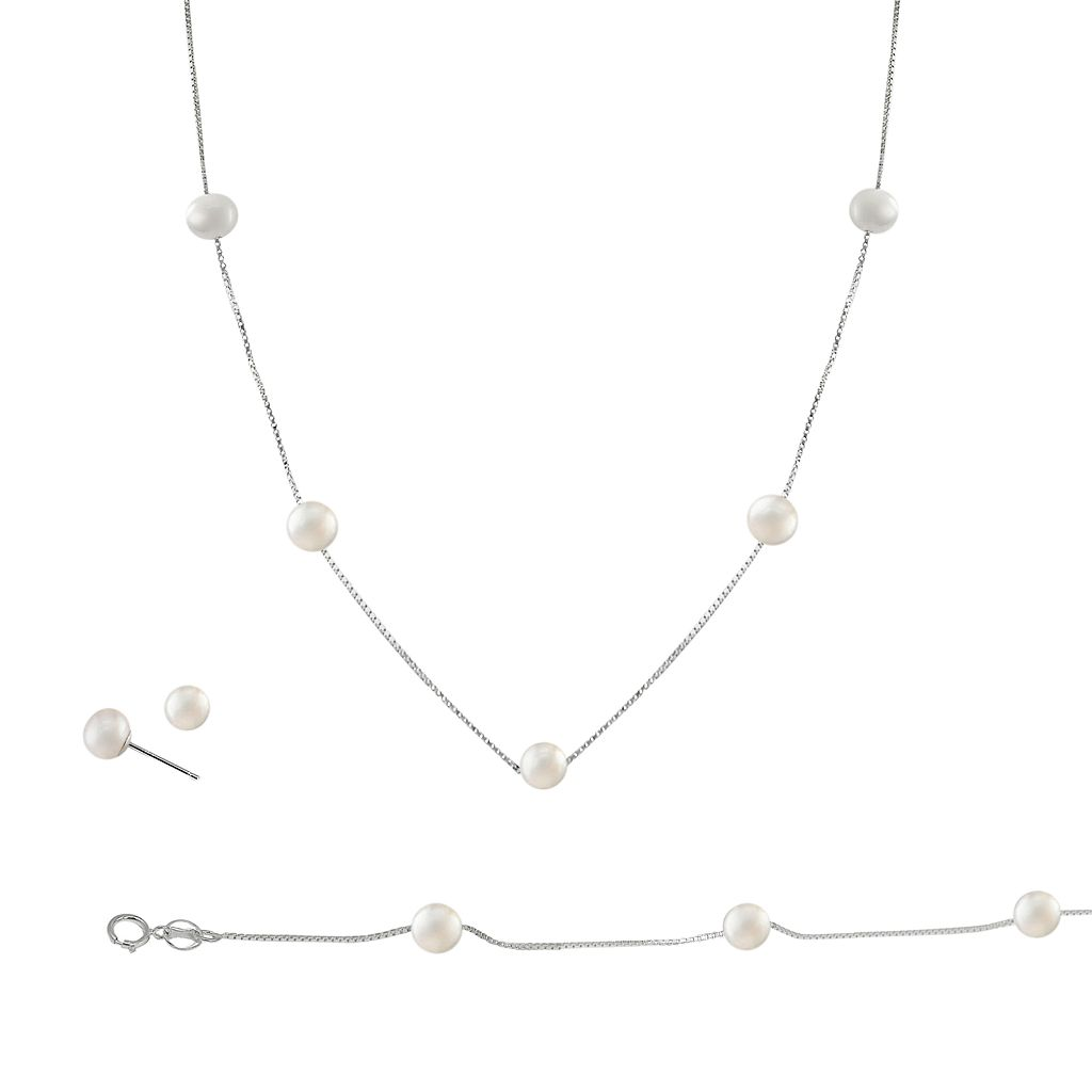Sterling Silver Freshwater Cultured Pearl Necklace, Bracelet & Earring Set