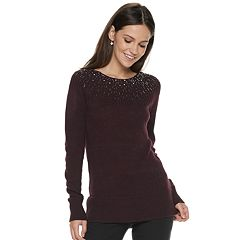 Women's Apt. 9® Embellished Yoke Crewneck Sweater