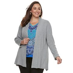 Plus Dana Buchman Ribbed Long Sleeve Cardigan
