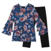 Girls 7-16 IZ Amy Byer Ruffled Long Sleeve Floral Tunic & Leggings Set with Necklace