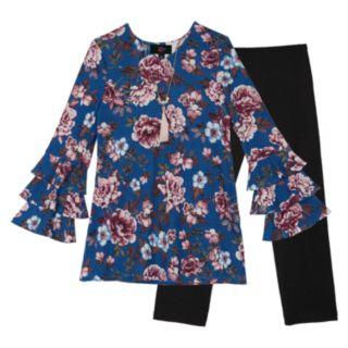 Girls 7-16 IZ Amy Byer Ruffled Long Sleeve Floral Tunic & Leggings Set with Necklace