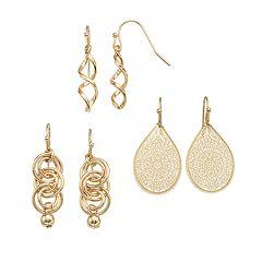 Twist, Hoop & Filigree Drop & Teardrop Earring Set