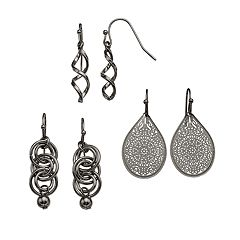Twist, Hoop & Filigree Drop & Teardrop Earring Set
