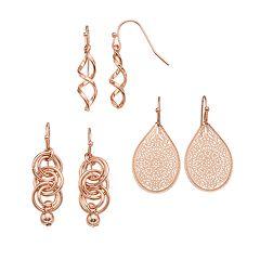 SONOMA Goods for Life™ Twist, Hoop & Filigree Drop & Teardrop Earring Set