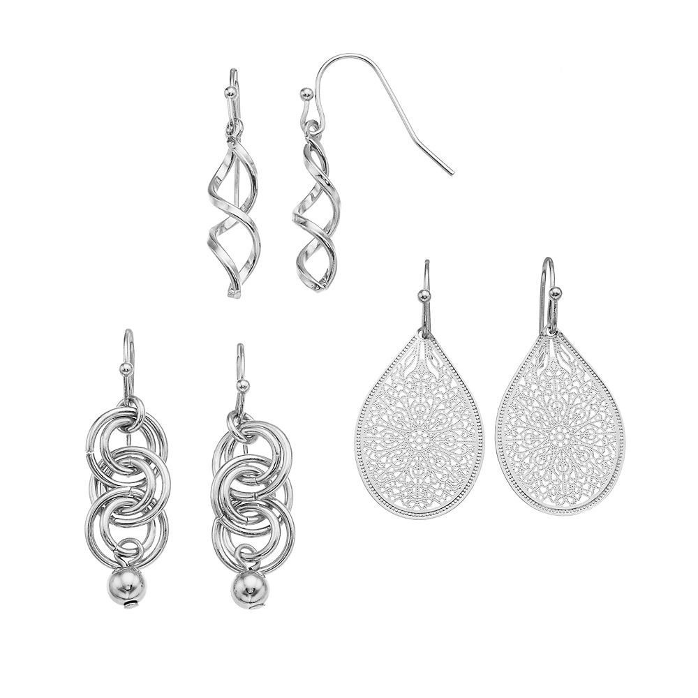 SONOMA Goods for Life® Twist, Hoop & Filigree Drop & Teardrop Earring Set