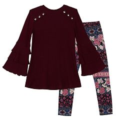 Girls 7-16 & Plus Size IZ Amy Byer Ruffled Sleeve Tunic & Printed Leggings Set