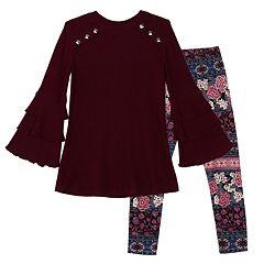 Girls 7-16 & Plus Size IZ Amy Byer Ruffled Sleeve Tunic & Printed Leggings Set