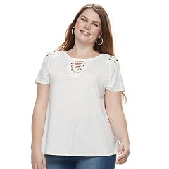 Plus Size French Laundry Grommet Lace-Up Top