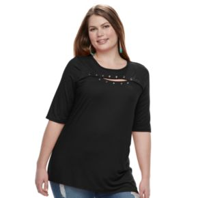 Plus Size French Laundry Grommet Keyhole Top