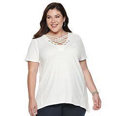 Plus Size French Laundry Crisscross Grommet Top