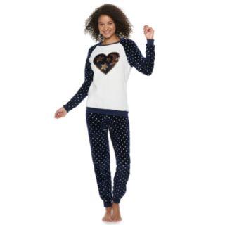 Juniors' Peace, Love & Fashion Reversible Sequin Top & Joggers
