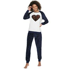 Juniors' Peace, Love & Fashion Reversible Sleep Top & Banded Bottom Sleep Pant Pajama Set