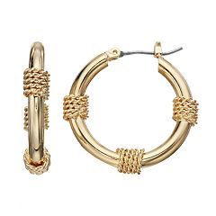 Napier Gold Tone Wrapped Hoop Earrings