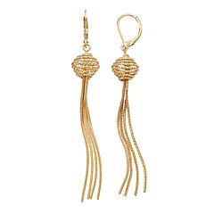 Napier Beaded Fringe Drop Earrings