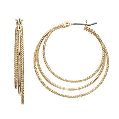 Napier Textured Triple Hoop Earrings