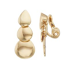Napier Triple Teardrop Clip On Earrings