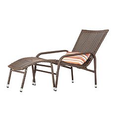 Patio Sense Lido Indoor / Outdoor Wicker Lounge Chair & Footrest 3-piece Set