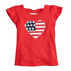 Baby Girl Jumping Beans® American Flag Heart Graphic Tee