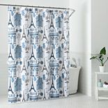 1888 Mills Parisian Motif Printed Shower Curtain