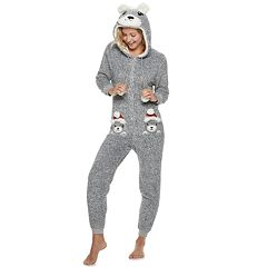 Juniors' Peace, Love & Fashion Hooded Holiday Bear One-Piece Pajamas