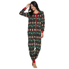 Juniors' Peace, Love & Fashion Fairisle One-Piece Pajamas