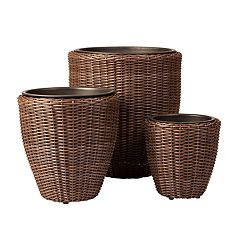 Patio Sense Tondo Stacking Wicker Planter 3-piece Set