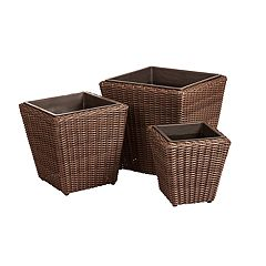 Patio Sense Piazza Stacking Wicker Planter 3-piece Set