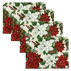 St. Nicholas Square® Poinsettia Print Placemat 4-pack