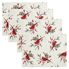 St. Nicholas Square® Cardinal & Sprig Toss Print Placemat 4-pack