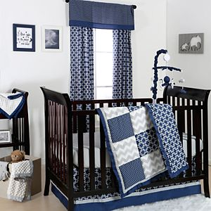 The Peanut Shell Doodle & Dot Patch Quilt, Dust Ruffle, Fitted Crib Sheet & Musical Mobile Set