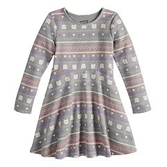 Girls 4-12 Jumping Beans® Print Fleece Skater Dress