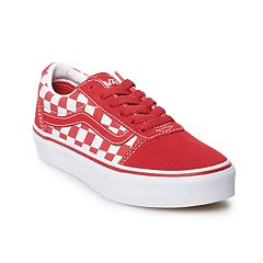 2ff2dd37bb84f7 Vans Ward Boys Suede Skate Shoes. Red Flame Checker