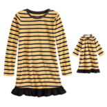 Girls 4-16 Jammies For Your Families Halloween Microfleece Striped Nightgown & Doll Gown Pajama Set