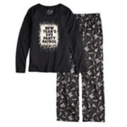 "Girls 7-16 Jammies For Your Families New Year's Eve ""Party Patrol"" Top & Microfleece Bottoms Pajama Set"