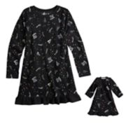 Girls 4-16 Jammies For Your Families New Year's Eve Microfleece Party Pattern Nightgown & Doll Gown Pajama Set