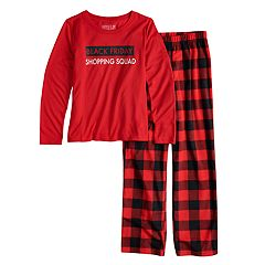 Girls 7-16 Jammies For Your Families Thanksgiving 'Black Friday Shopping Squad' Top & Buffalo Checkered Microfleece Bottoms Pajama Set