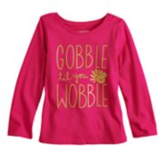 "Toddler Girl  Jumping Beans® ""Gobble Til You Wobble"" Glittery Graphic Tee"