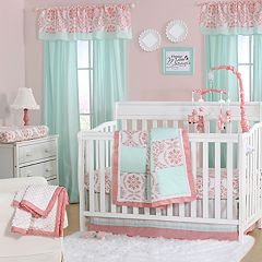 The Peanut Shell Pretty Patch Medallion Quilt, Dust Ruffle, Fitted Crib Sheet & Musical Mobile Set